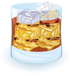 Scotch on rocks alcohol cocktail vector
