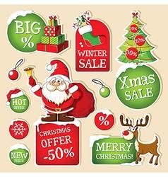 Set of christmas price tags vector