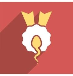 Sperm Winner Flat Longshadow Square Icon vector image vector image