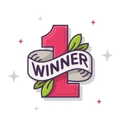 The winner leaf number one thin line vector