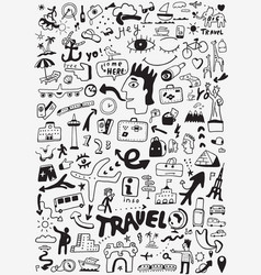 travel transportation doodle vector image vector image