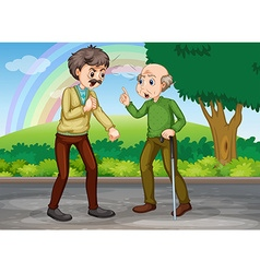 Two old men fighting in the park vector