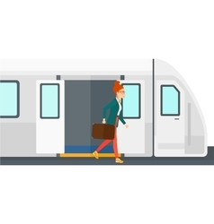Woman going out of train vector image vector image