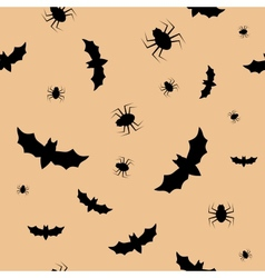 Seamless pattern with bats and spiders vector