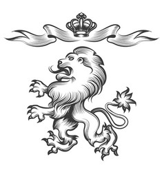 Lion with crown in engraving style vector