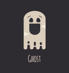Funny ghost halloween silhouette character vector