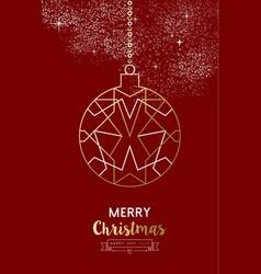 Merry christmas new year bauble ball outline gold vector