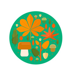 Autumn foliage composition in circle shape vector