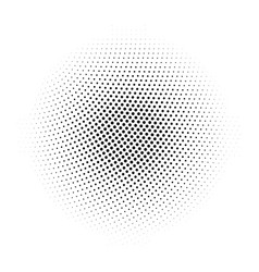 Black abstract halftone circle made of dots in vector