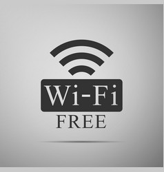 Free wifi sign icon isolated on grey background vector