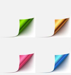 realistic paper curlud corner set vector image