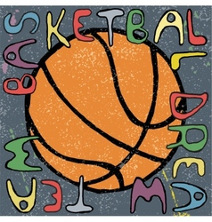 Basketball ball hand drawn poster design vector
