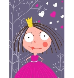 Fun and cute little princess in dark forest with vector