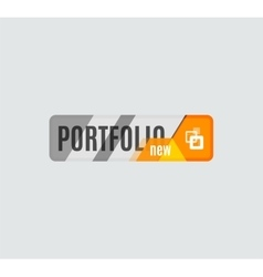 Portfolio button futuristic hi-tech ui design vector