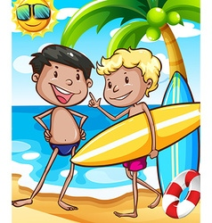 Boys and beach vector