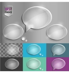 Oval glass speech bubble icons with soft shadow on vector