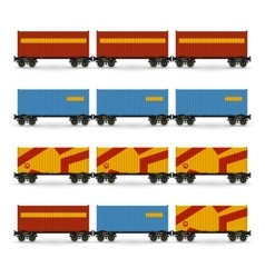 Containers on a railway container platform vector