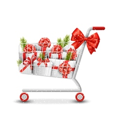 Christmas winter sale shopping cart with white vector