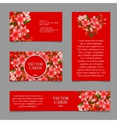 Four cards with the texture of pink lilies vector