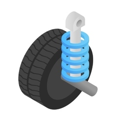 Wheel tire and shock absorber isometric 3d icon vector
