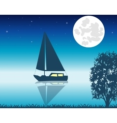 Sailing boat seaborne in the night vector