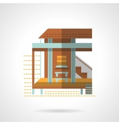 Bungalow exterior flat color design icon vector