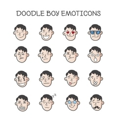 Cute doodle boy heads set boy emoticons vector
