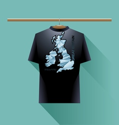 Black shirt with blue ireland and great britain lo vector