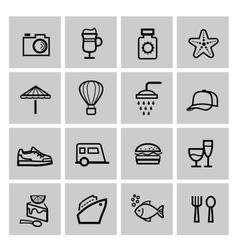 black vacation travel icon set vector image vector image