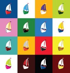 Boat set icon vector