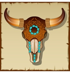 Bull skull inlay closeup vector