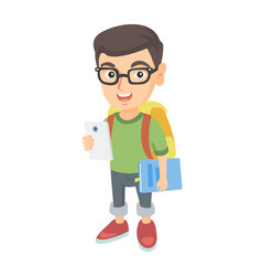 Caucasian schoolboy holding cellphone and textbook vector