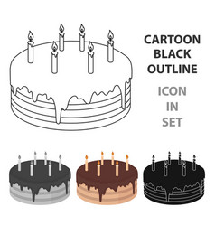 chocolate cake icon in cartoon style isolated on vector image