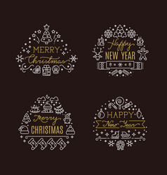 christmas holiday decorative emblems with vector image