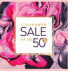 clearance sale square pink and gold banner vector image vector image