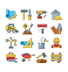 Construction icons or home repair tools signs in vector