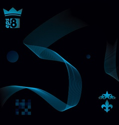 Dark decorative wavy template background with vector image vector image