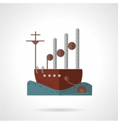 Flat navy vessel icon vector