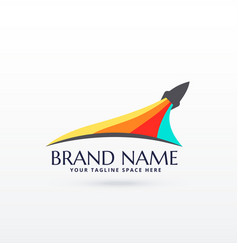 Flying rocket logo design with colors stripe vector