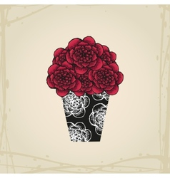 Hand drawn doodle roses in tattoo style and black vector