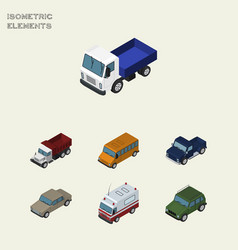 Isometric transport set of suv auto first-aid vector