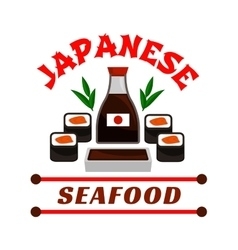 Japanese seafood restaurant icon sushi and sauce vector
