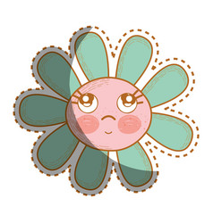 kawaii flower thinking with cheeks and eyes vector image vector image