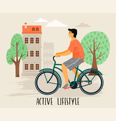 Man on a bicycle healthy vector