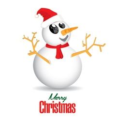 Merry Christmas and Snowman isolated on white vector image vector image