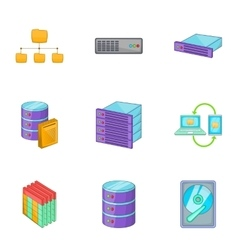 Network server infrastructure icons set vector