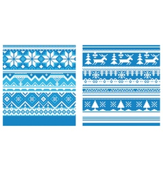 Ornament knitted blue vector