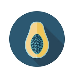 Papaya flat icon Tropical fruit vector image vector image