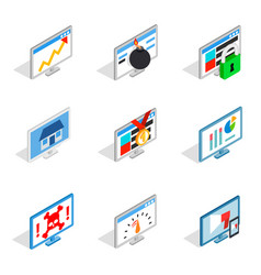pc monitor icon set isometric style vector image vector image