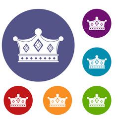 Prince crown icons set vector